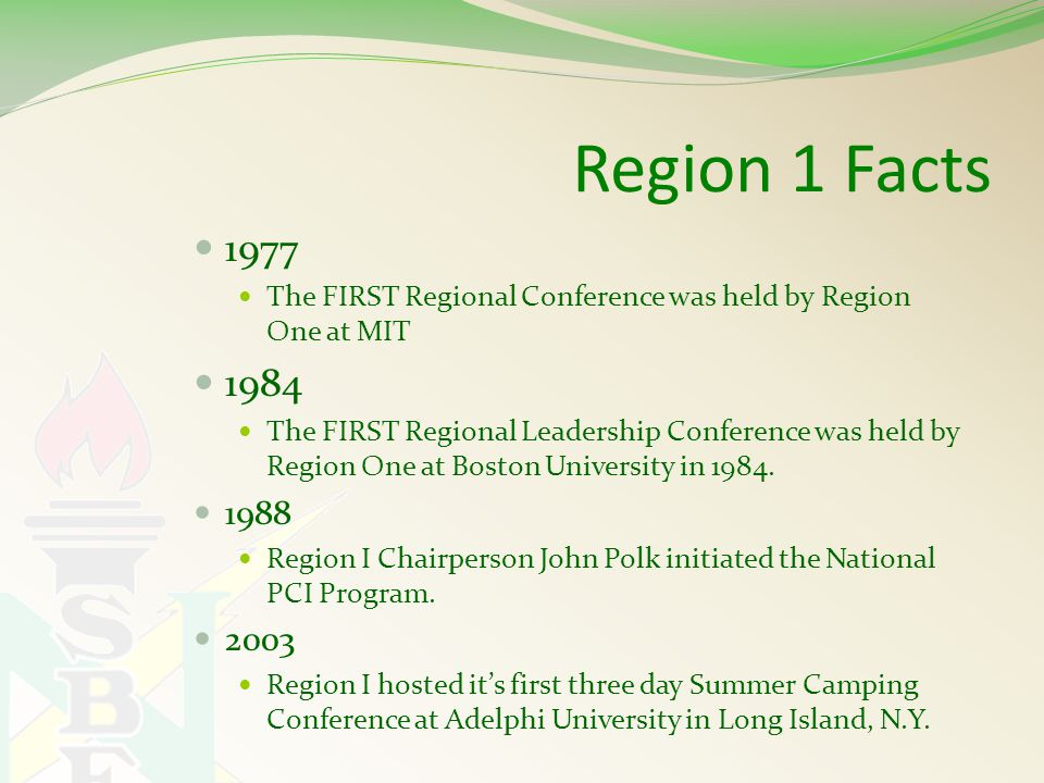 Region 1 Facts 1977 The FIRST Regional Conference was held by Region One at MIT 1984 The FIRST Regional Leadership Conference was held by Region One at Boston University in 1984.
