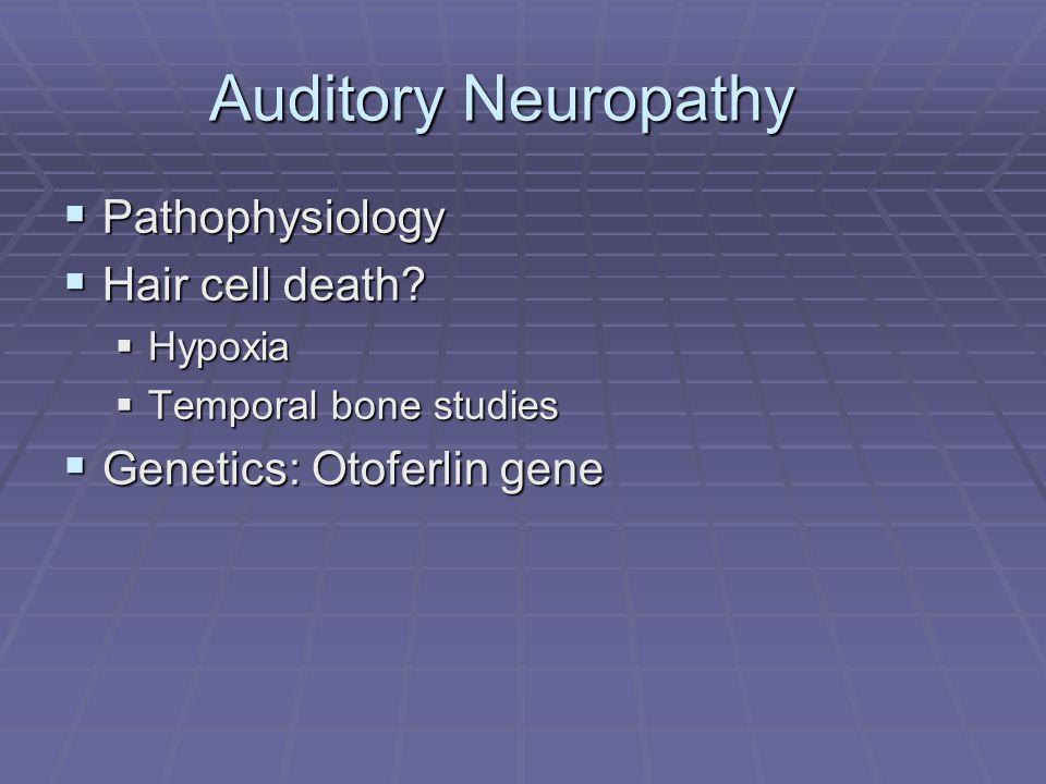 Auditory Neuropathy  Pathophysiology  Hair cell death.