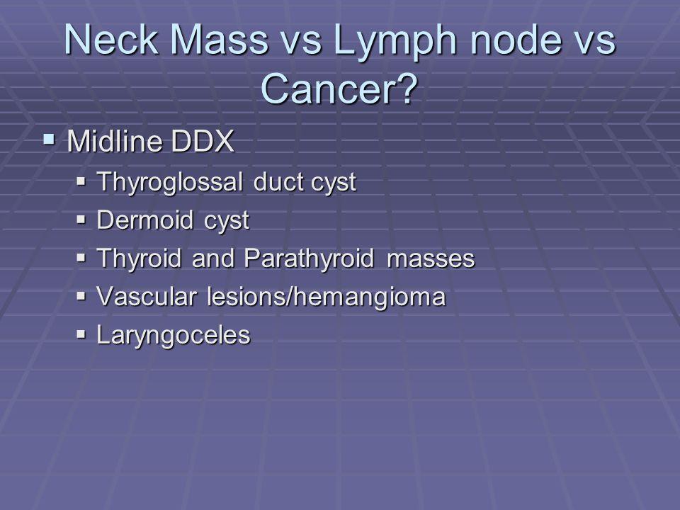 Neck Mass vs Lymph node vs Cancer.