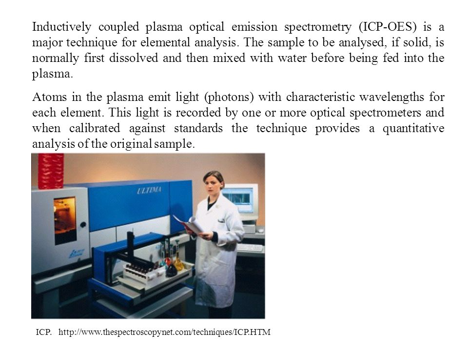 Inductively coupled plasma optical emission spectrometry (ICP-OES) is a major technique for elemental analysis.