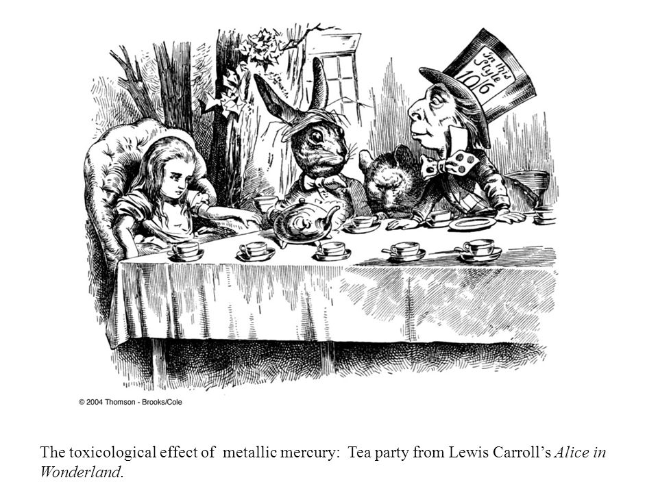 The toxicological effect of metallic mercury: Tea party from Lewis Carroll's Alice in Wonderland.