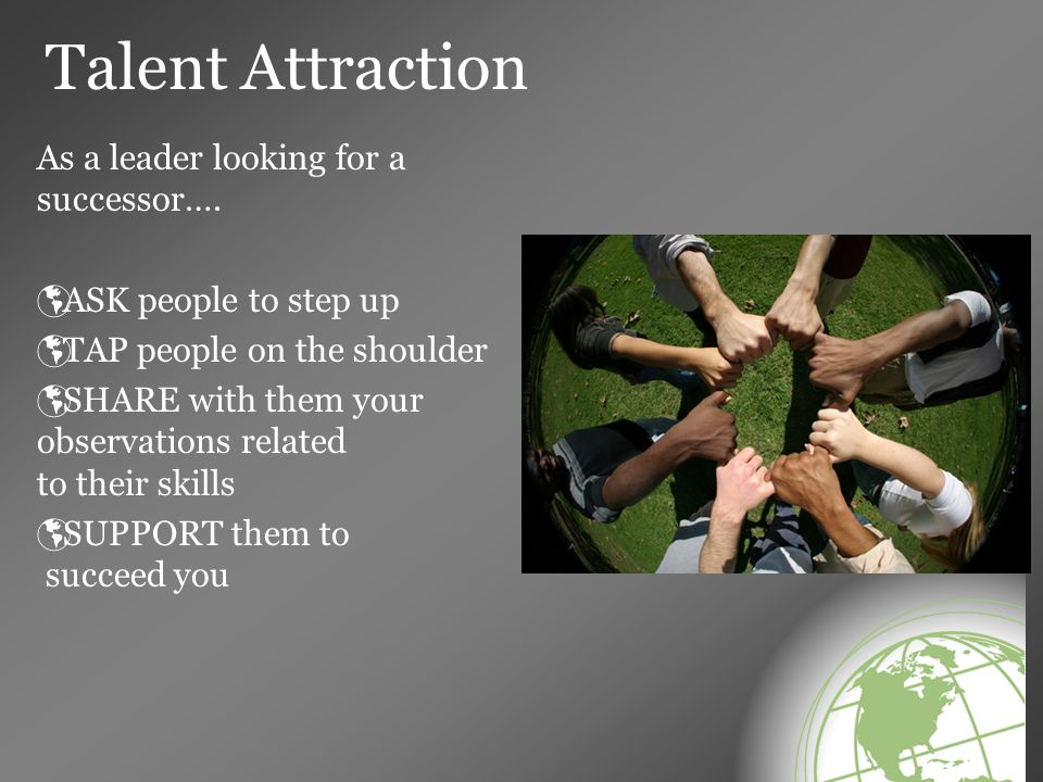 Talent Attraction As a leader looking for a successor….