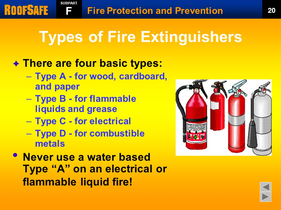 Types of Fire Extinguishers  There are four basic types: –Type A - for wood, cardboard, and paper –Type B - for flammable liquids and grease –Type C - for electrical –Type D - for combustible metals Never use a water based Type A on an electrical or flammable liquid fire.