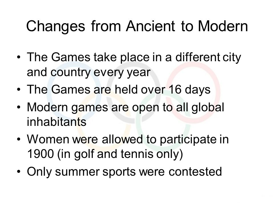 Changes from Ancient to Modern The Games take place in a different city and country every year The Games are held over 16 days Modern games are open to all global inhabitants Women were allowed to participate in 1900 (in golf and tennis only) Only summer sports were contested
