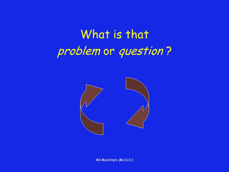 Bill MacIntyre (M.U.C.E.) What is that problem or question