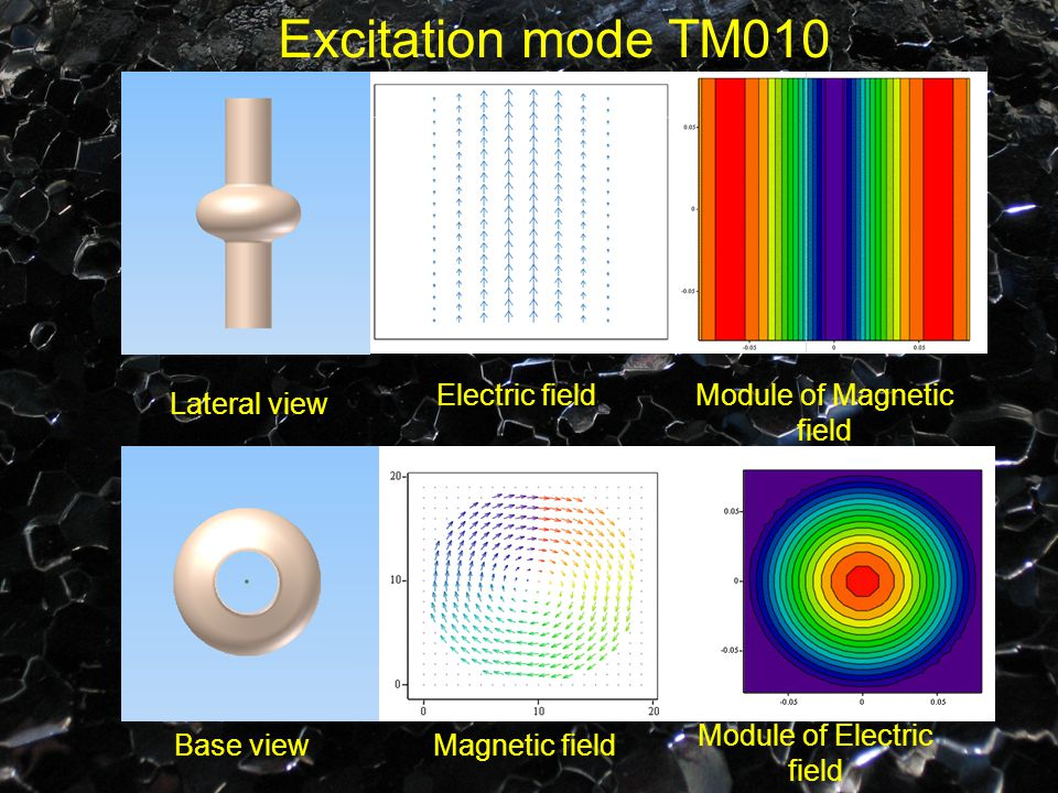 Excitation mode TM010 Electric fieldModule of Magnetic field Module of Electric field Magnetic field Lateral view Base view