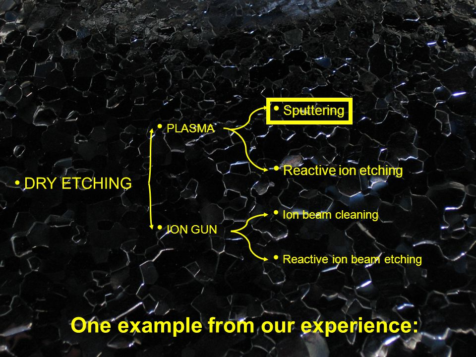 Reactive ion etching DRY ETCHING PLASMA ION GUN Sputtering Ion beam cleaning Reactive ion beam etching One example from our experience: