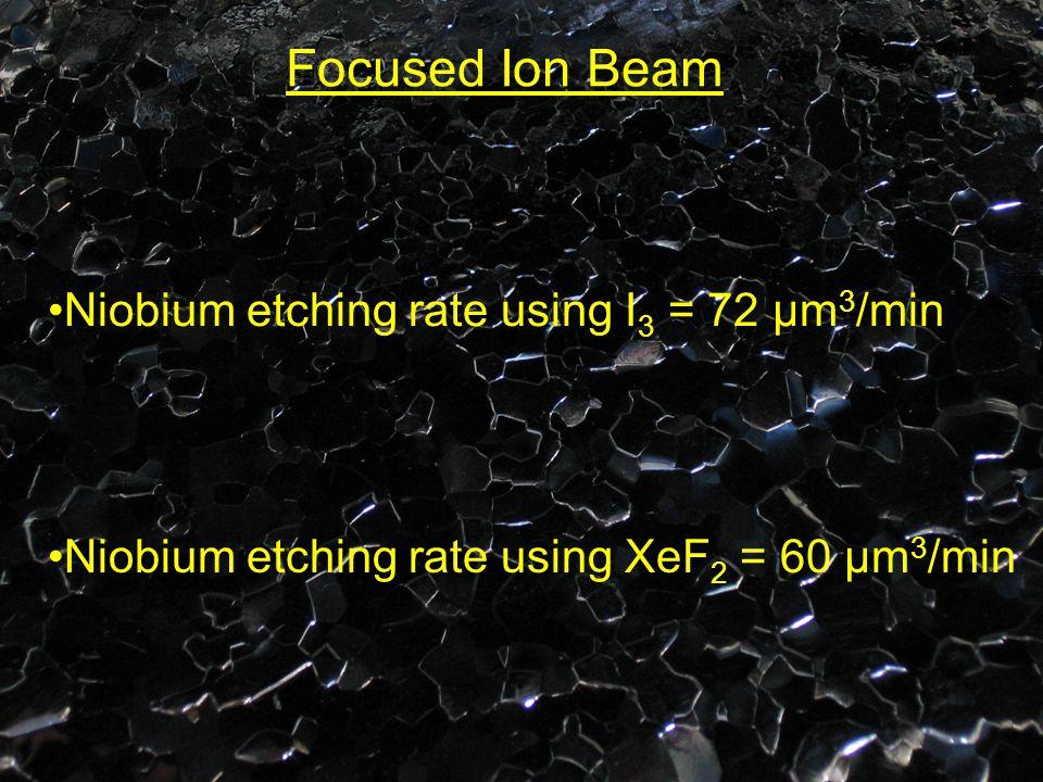 Focused Ion Beam Niobium etching rate using I 3 = 72 μm 3 /min Niobium etching rate using XeF 2 = 60 μm 3 /min