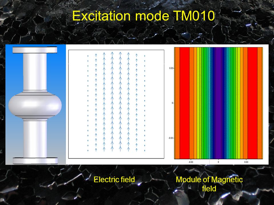 Excitation mode TM010 Electric fieldModule of Magnetic field