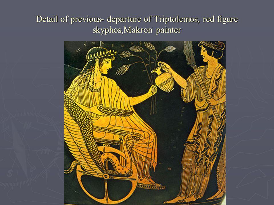 Detail of previous- departure of Triptolemos, red figure skyphos,Makron painter