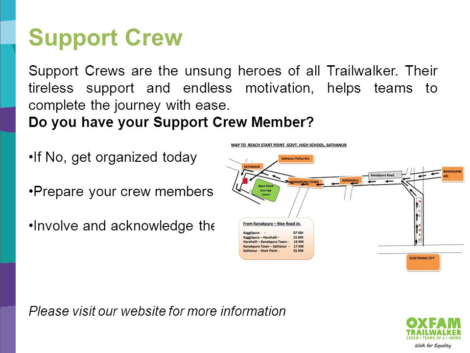 Support Crews are the unsung heroes of all Trailwalker.