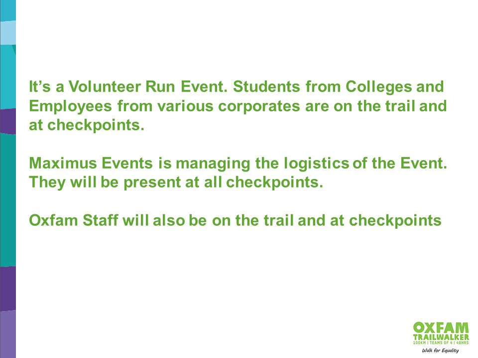 It's a Volunteer Run Event.