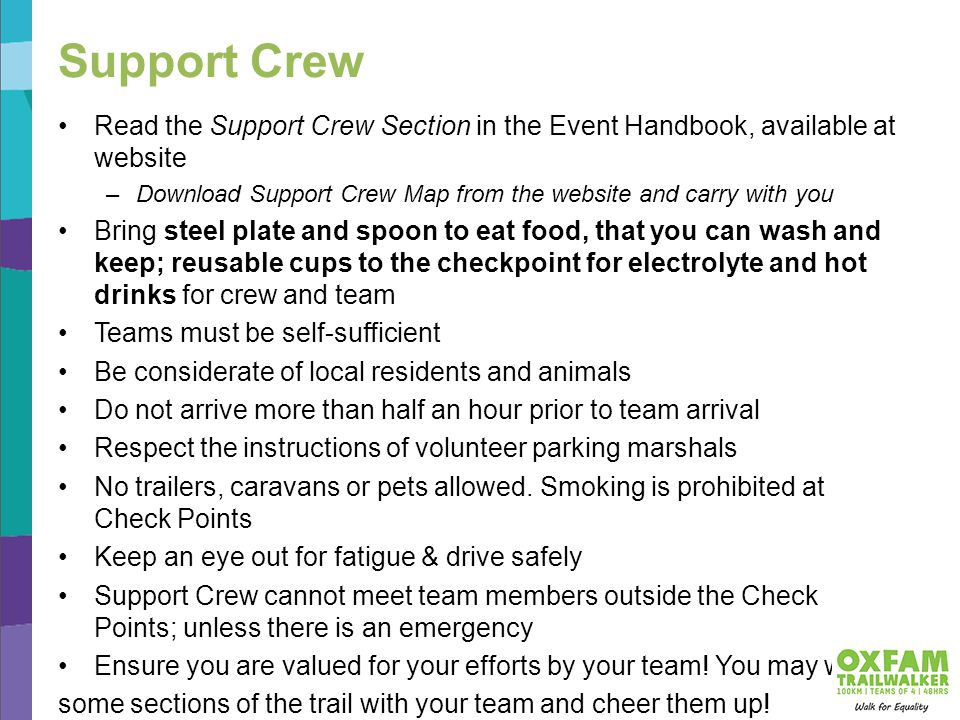Support Crew Read the Support Crew Section in the Event Handbook, available at website –Download Support Crew Map from the website and carry with you Bring steel plate and spoon to eat food, that you can wash and keep; reusable cups to the checkpoint for electrolyte and hot drinks for crew and team Teams must be self-sufficient Be considerate of local residents and animals Do not arrive more than half an hour prior to team arrival Respect the instructions of volunteer parking marshals No trailers, caravans or pets allowed.