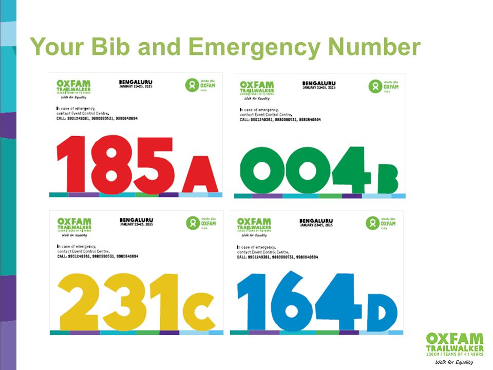 Your Bib and Emergency Number