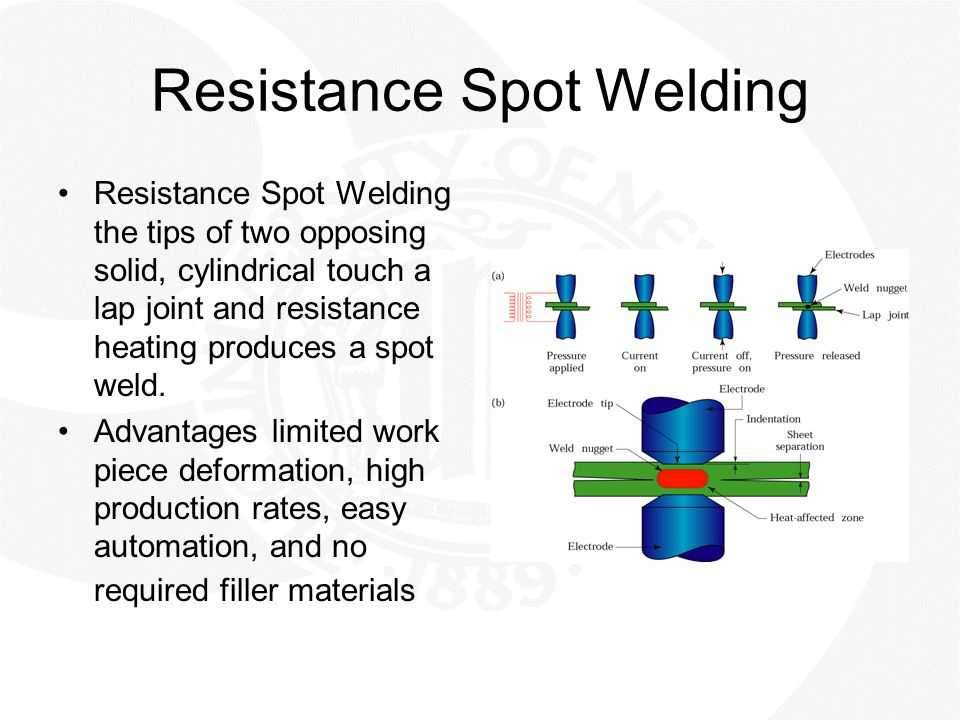 Resistance Spot Welding Resistance Spot Welding the tips of two opposing solid, cylindrical touch a lap joint and resistance heating produces a spot w