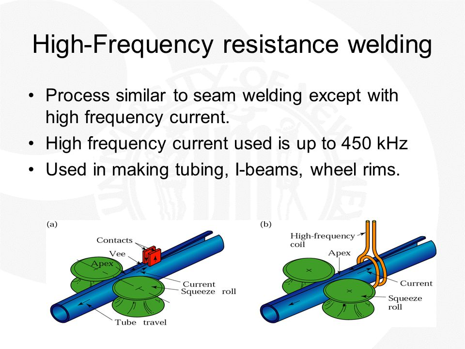 High-Frequency resistance welding Process similar to seam welding except with high frequency current. High frequency current used is up to 450 kHz Use