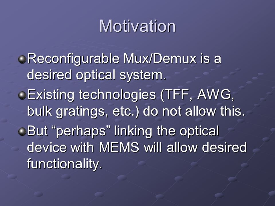 Motivation Reconfigurable Mux/Demux is a desired optical system.