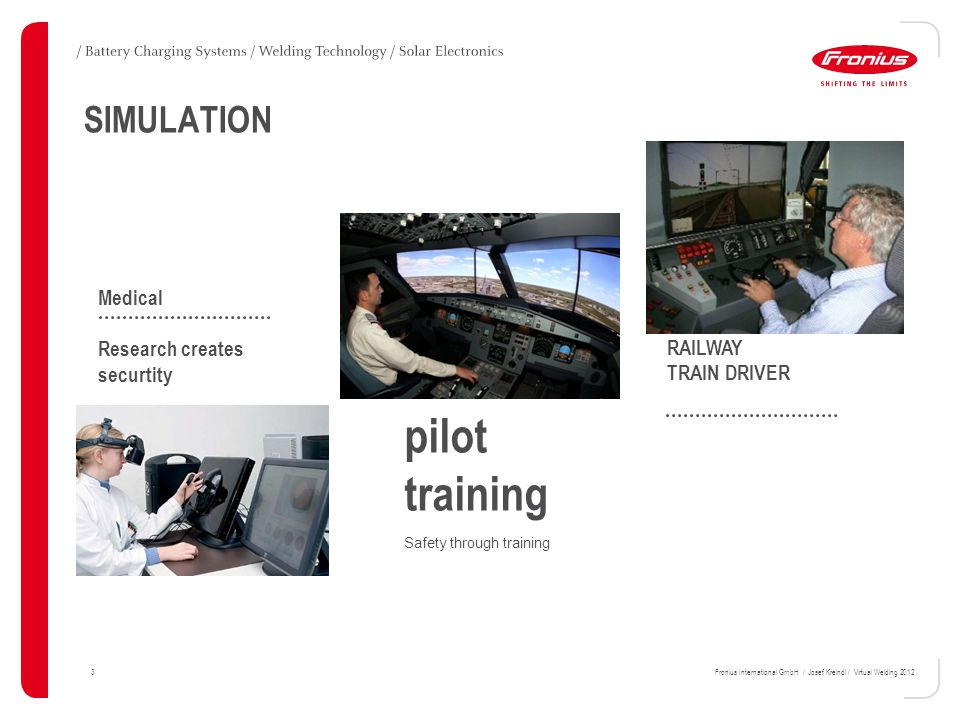 3Fronius International GmbH / Josef Kreindl / Virtual Welding 2012 SIMULATION pilot training Safety through training RAILWAY TRAIN DRIVER NEDUNFEG SULSCHAB Lorem ipsum dolor sit amet, consec tetuer adipiscing elit.