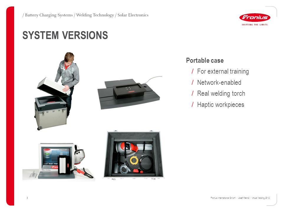 29Fronius International GmbH / Josef Kreindl / Virtual Welding 2012 FURTHER DEVELOPMENTS MMA Process / Ignition / Re-ignition / Welding Position (PA, PB, PD PE ) / New workpiece / Filler Material (Stick electrode basic typ)