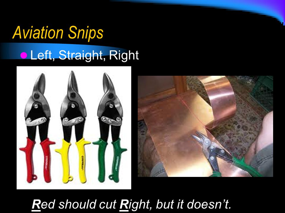 Aviation Snips Left, Straight, Right Red should cut Right, but it doesn't.
