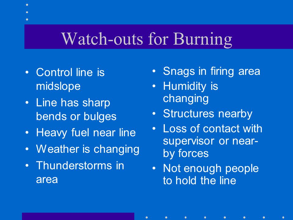 Watch-outs for Burning Control line is midslope Line has sharp bends or bulges Heavy fuel near line Weather is changing Thunderstorms in area Snags in firing area Humidity is changing Structures nearby Loss of contact with supervisor or near- by forces Not enough people to hold the line