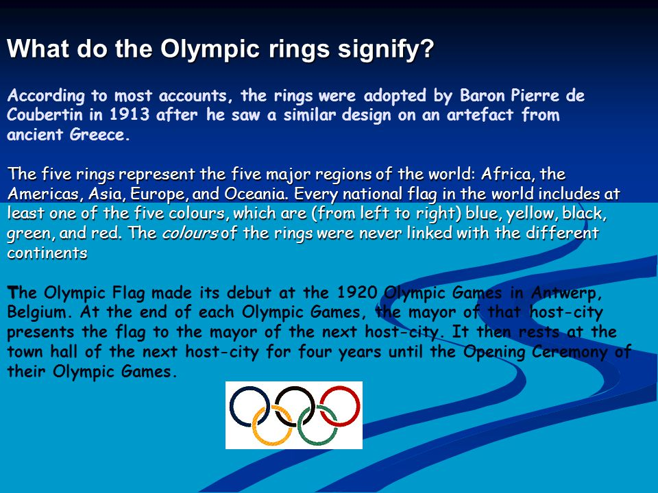 What do the Olympic rings signify. What do the Olympic rings signify.