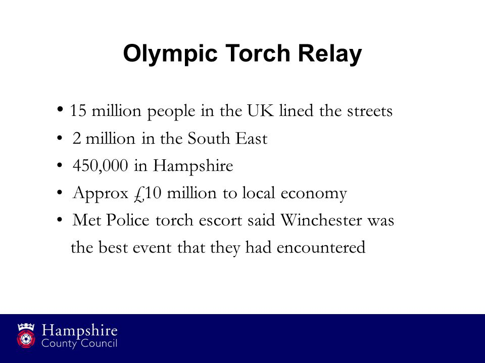 15 million people in the UK lined the streets 2 million in the South East 450,000 in Hampshire Approx £10 million to local economy Met Police torch es