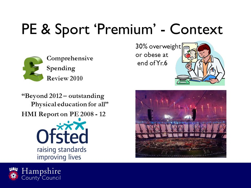 "PE & Sport 'Premium' - Context Comprehensive Spending Review 2010 ""Beyond 2012 – outstanding Physical education for all"" HMI Report on PE 2008 - 12 30"
