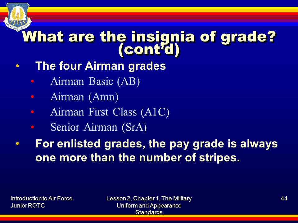Introduction to Air Force Junior ROTC Lesson 2, Chapter 1, The Military Uniform and Appearance Standards 44 What are the insignia of grade.