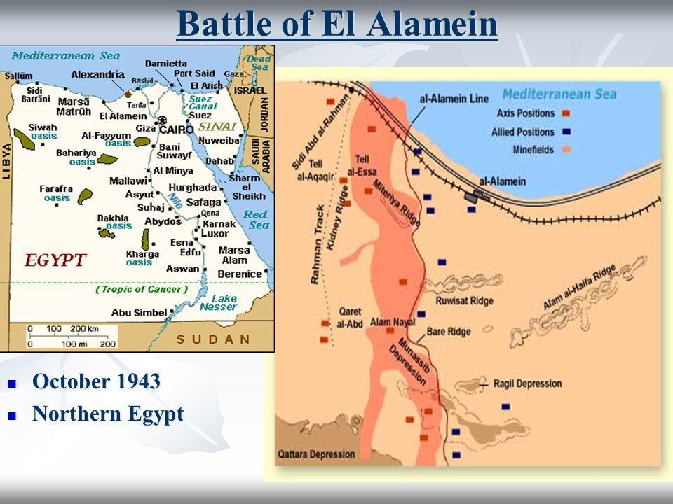 Battle of El Alamein October 1943 October 1943 Northern Egypt Northern Egypt