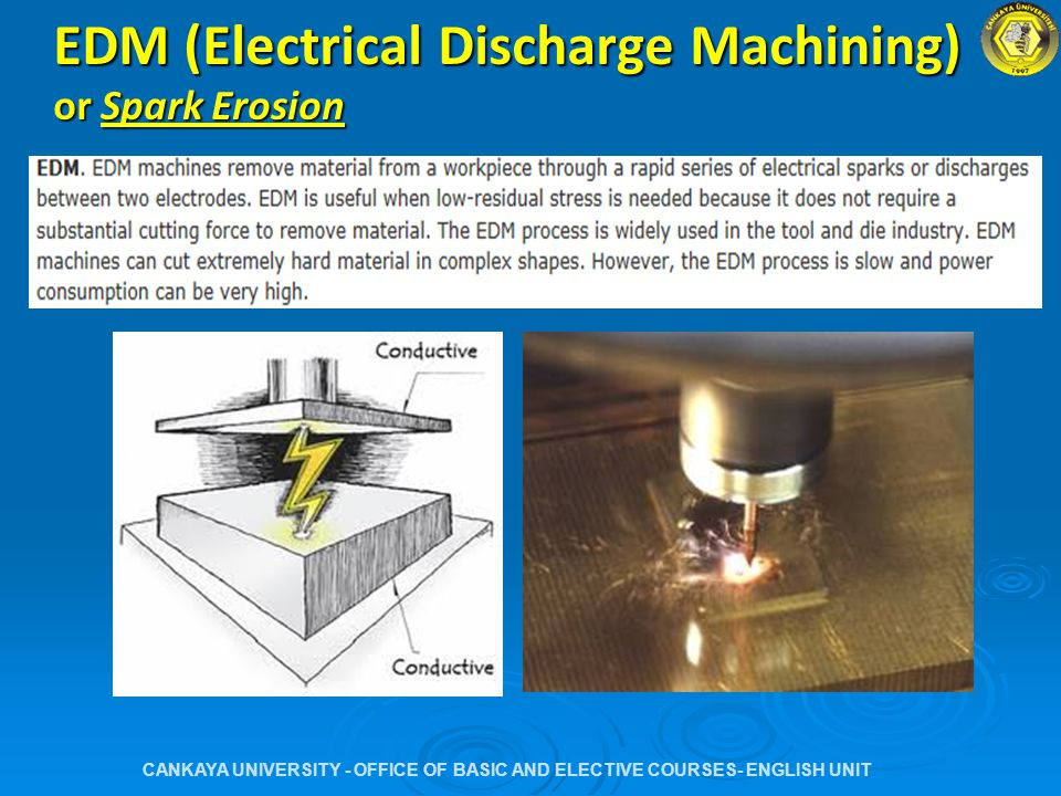 EDM (Electrical Discharge Machining) or Spark Erosion CANKAYA UNIVERSITY - OFFICE OF BASIC AND ELECTIVE COURSES- ENGLISH UNIT