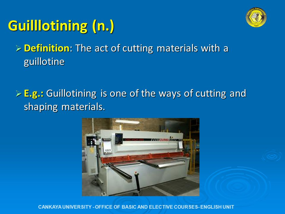 Punching (n.)  Definition:  Definition: The act of making holes on materials with a punch (machine)  E.g.:  E.g.: Ventilation in small spaces is provided by punching holes on the metal or whatever the material covering the area.