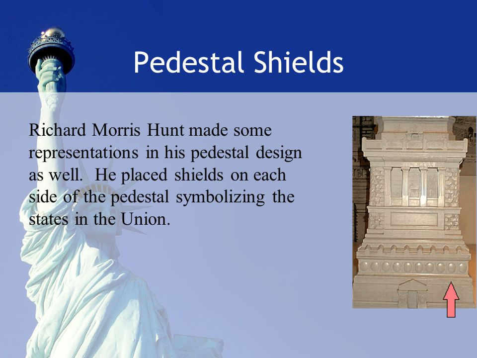 Pedestal Shields Richard Morris Hunt made some representations in his pedestal design as well.