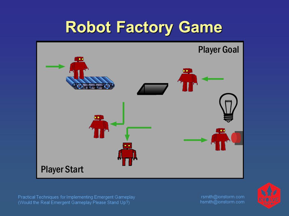 Practical Techniques for Implementing Emergent Gameplay (Would the Real Emergent Gameplay Please Stand Up ) rsmith@ionstorm.com hsmith@ionstorm.com Robot Factory Game