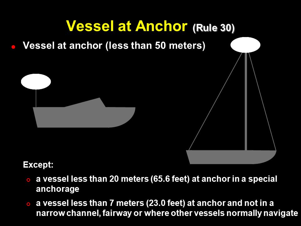 (Rule 30) Vessel at Anchor (Rule 30) ! !Vessel at anchor (less than 50 meters) Except: # #a vessel less than 20 meters (65.6 feet) at anchor in a spec