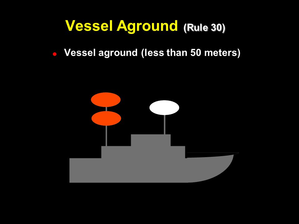 (Rule 30) Vessel Aground (Rule 30) ! !Vessel aground (less than 50 meters)