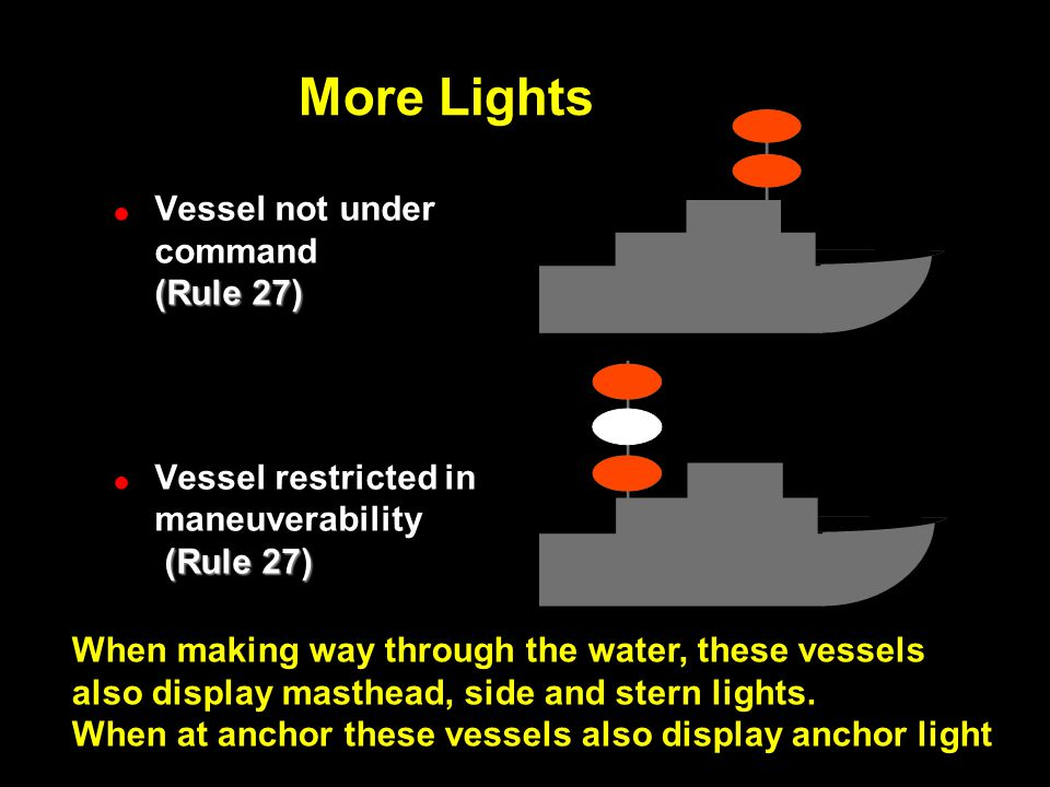More Lights ! (Rule 27) !Vessel not under command (Rule 27) ! (Rule 27) !Vessel restricted in maneuverability (Rule 27) When making way through the wa
