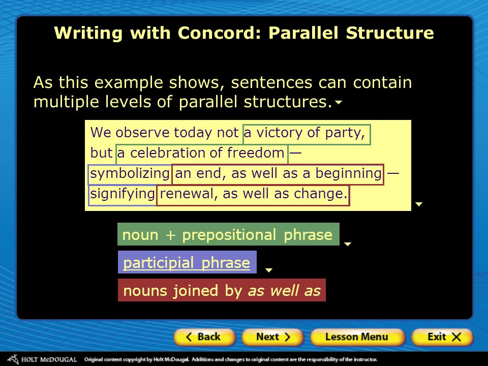 Writing with Concord: Parallel Structure Participial phrases A participial phrase contains a verb form usually ending in –ing or –ed a noun, pronoun, or adjective (the complement of the participle) any modifiers seemingunawareof the consequences