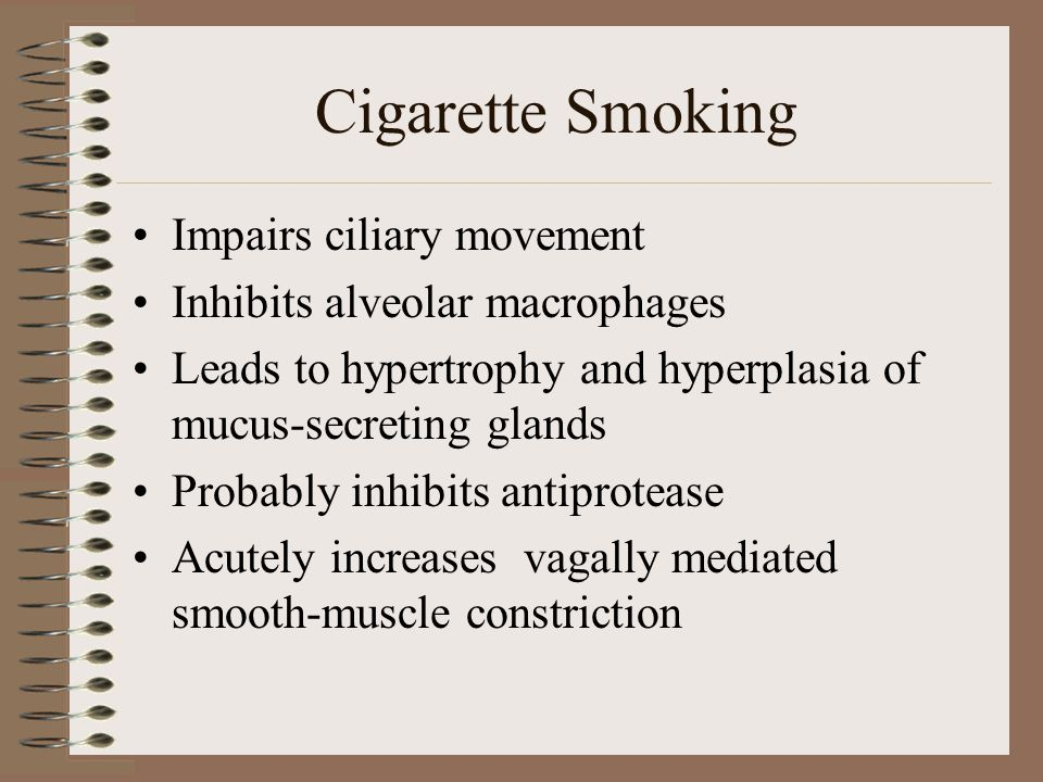 Cigarette Smoking Impairs ciliary movement Inhibits alveolar macrophages Leads to hypertrophy and hyperplasia of mucus-secreting glands Probably inhibits antiprotease Acutely increases vagally mediated smooth-muscle constriction