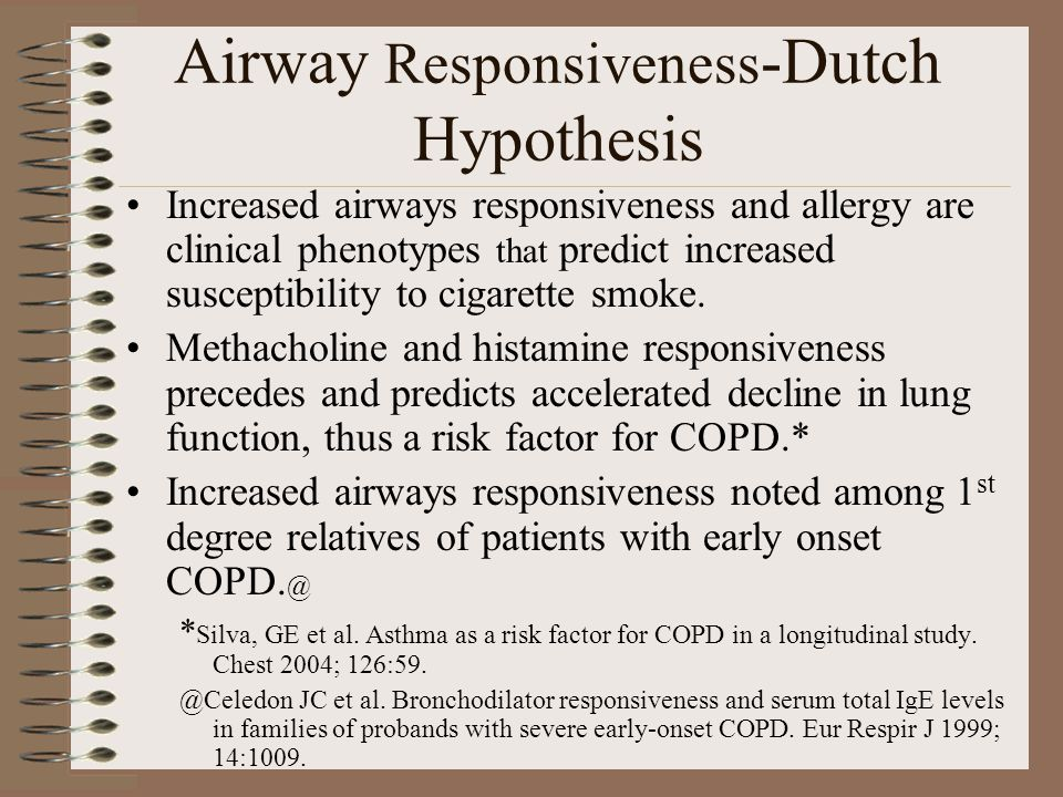 Airway Responsiveness -Dutch Hypothesis Increased airways responsiveness and allergy are clinical phenotypes that predict increased susceptibility to