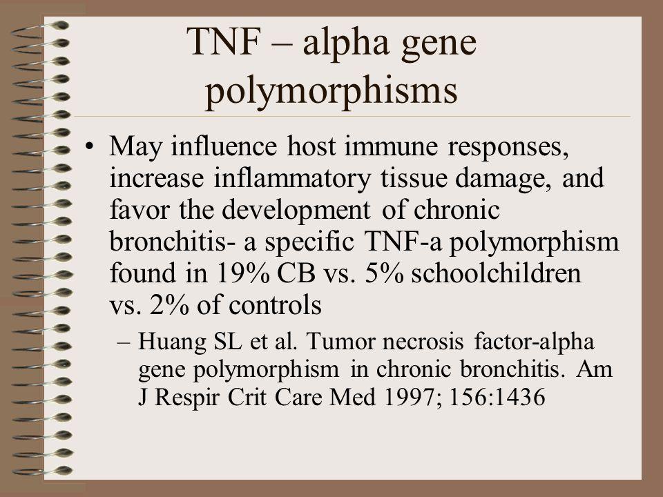 TNF – alpha gene polymorphisms May influence host immune responses, increase inflammatory tissue damage, and favor the development of chronic bronchit