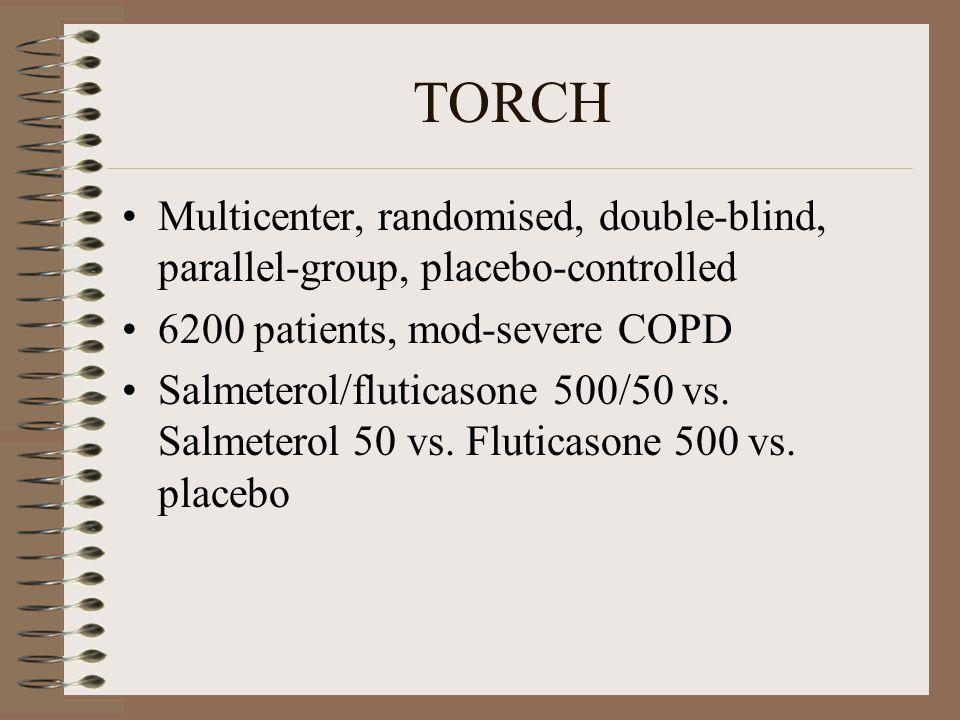 TORCH Multicenter, randomised, double-blind, parallel-group, placebo-controlled 6200 patients, mod-severe COPD Salmeterol/fluticasone 500/50 vs. Salme