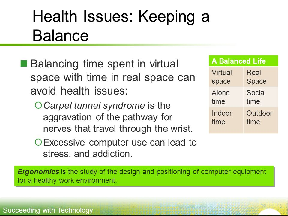 Succeeding with Technology Health Issues: Keeping a Balance Balancing time spent in virtual space with time in real space can avoid health issues:  C