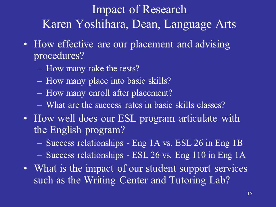 16 Impact of Research Tess Hansen, Faculty, English Department Research has helped justify the expense of the Puente program, as the statistics demonstrate the program's effectiveness and thus our confidence in maintaining it.