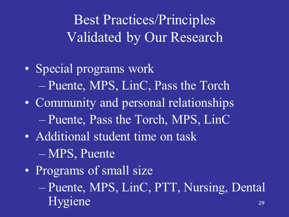 30 Best Practices/Principles Validated by Our Research Staff belief in students' ability to succeed –Puente, Pass the Torch, MPS, LinC Creating cohorts of students together in a program –MPS, Puente, Pass the Torch, LinC Combining basic skills with other subjects –LinC (e.g., math and business, ESL and history)