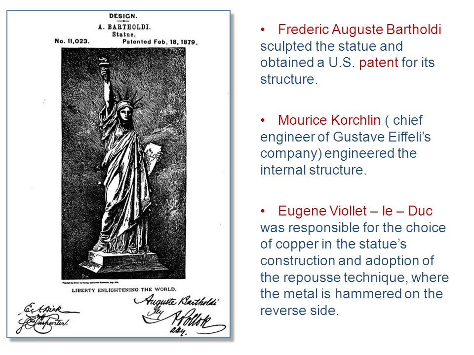 Frederic Auguste Bartholdi sculpted the statue and obtained a U.S. patent for its structure. Mourice Korchlin ( chief engineer of Gustave Eiffeli's co