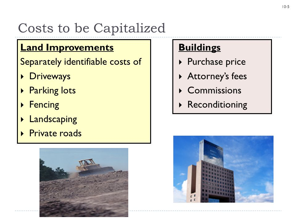 10-6 Natural Resources  Acquisition costs  Exploration costs  Development costs  Restoration costs The initial cost of an intangible asset includes the purchase price and all other costs necessary to bring it to condition and location for use, such as legal and filing fees.