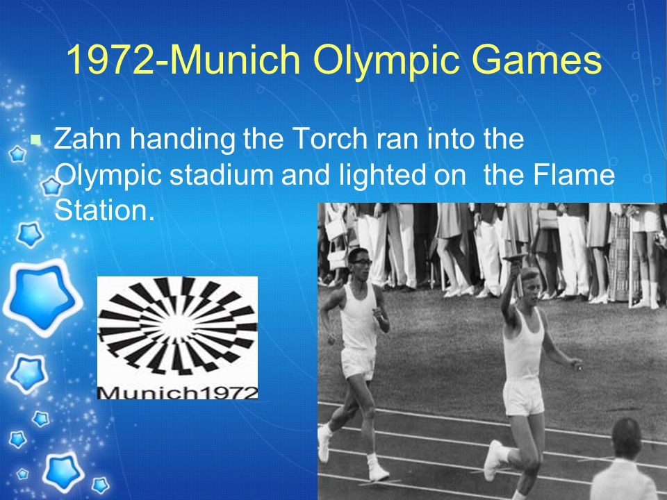 1972-Munich Olympic Games  Zahn handing the Torch ran into the Olympic stadium and lighted on the Flame Station.