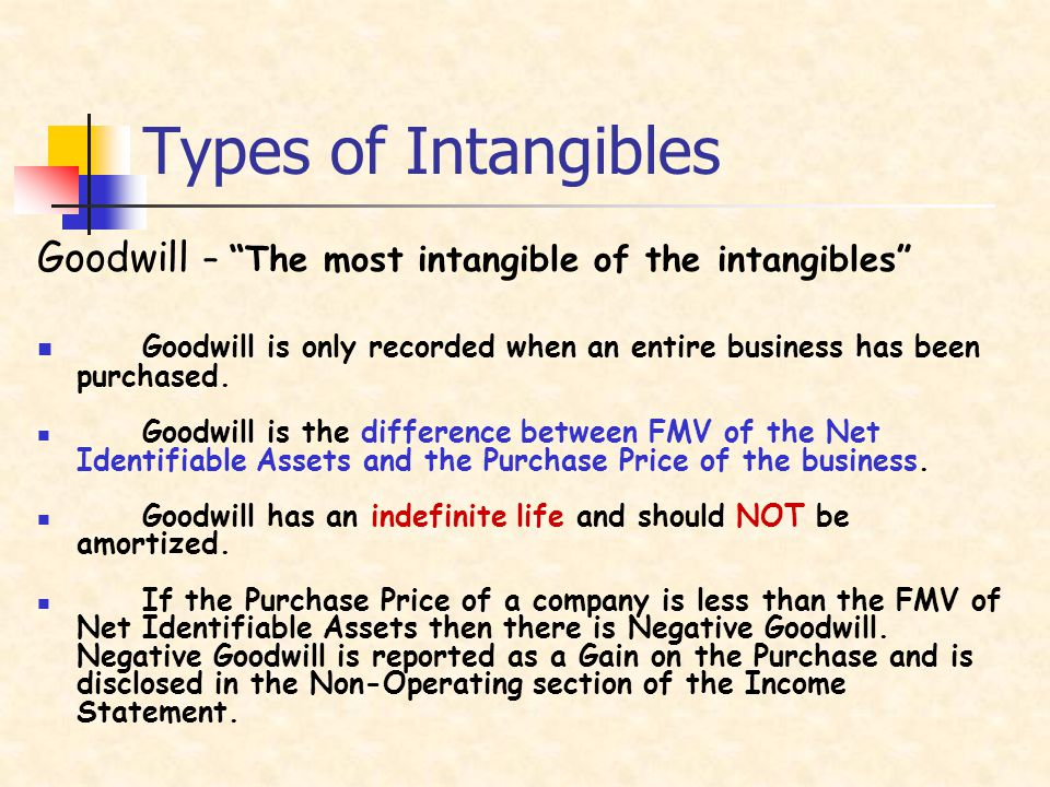 Types of Intangibles Goodwill – The most intangible of the intangibles Goodwill is only recorded when an entire business has been purchased.