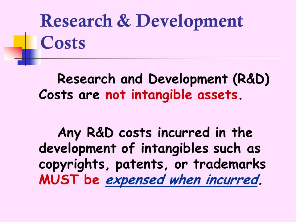 Research & Development Costs If an enterprise owns a research facility consisting of building, labs, or equipment that conducts R&D activities and that have alternative future uses, the facility should be accounted for as a Capitalized Operational Asset.